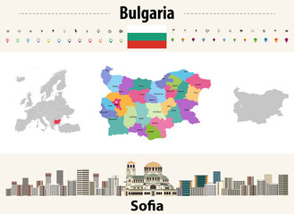 Fototapete - map of Bulgaria provinces with capital cities. Sofia cityscape. Bulgaria flag. Vector