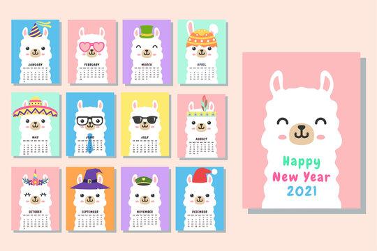 Cute face llama alpaca calendar 2021 template