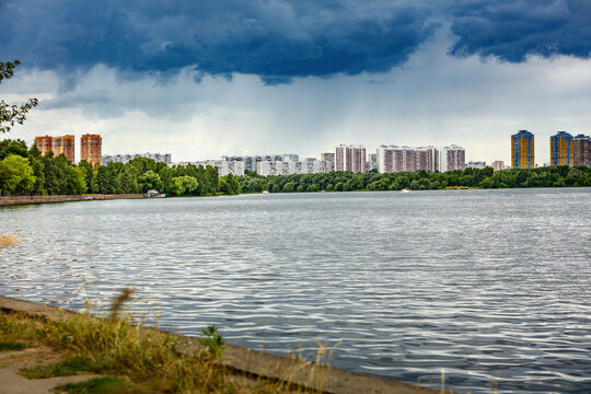 view of the residential complex, House of Serebryany Bor, on the banks of the Moskva River