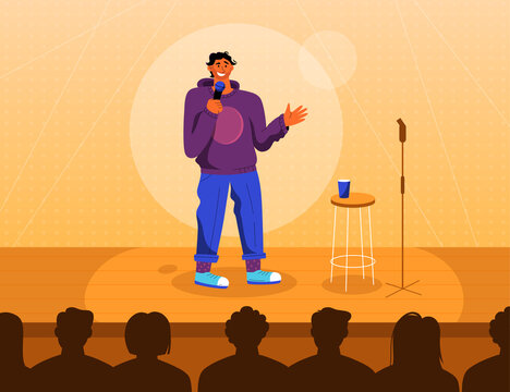 Professional comedian at stage in Stand up comedy show