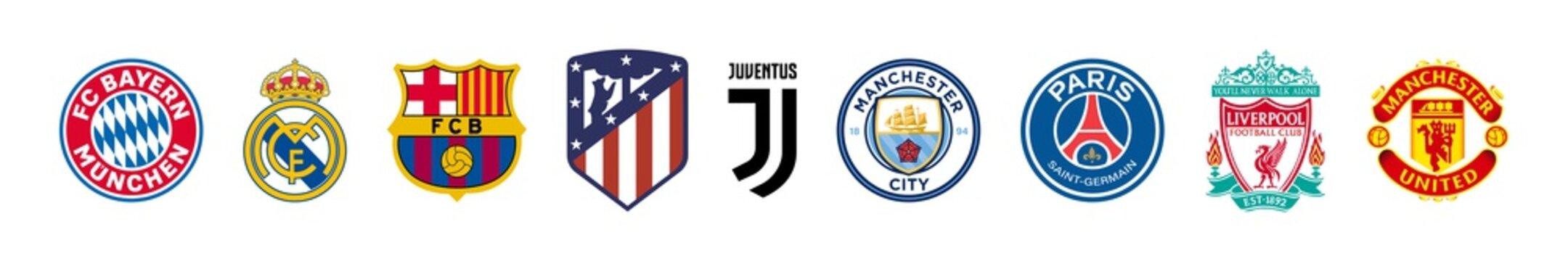 Top logos football team: real madrid, barcelona, juventus, manchester city, united, fcb, psg, liverpool, bayern munchen, atletico. Editorial vector illustration. Vinnitsa, Ukraine - October 18, 2020