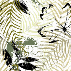 abstract seamless background pattern, with brush leaves, paint strokes and splashes