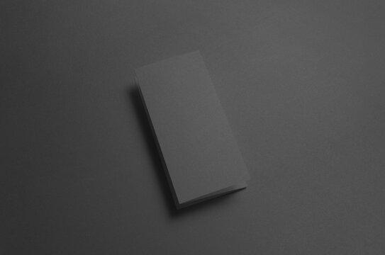 Black A4 Z-Fold Brochure Mock-Up