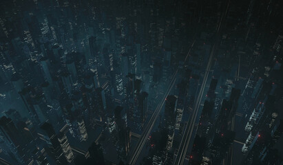 Wall Mural - 3D Rendering of free way at night in large mega city with many tall buildings. Top aerial view. Concept of next generation technology, fin tech, big data, 5g fast network, machine learning