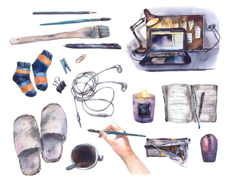 Cute watercolor illustrations about a cozy house, work at home, self-isolation and quarantine, stay at home. Set of home elements hand drawn isolated on white background.