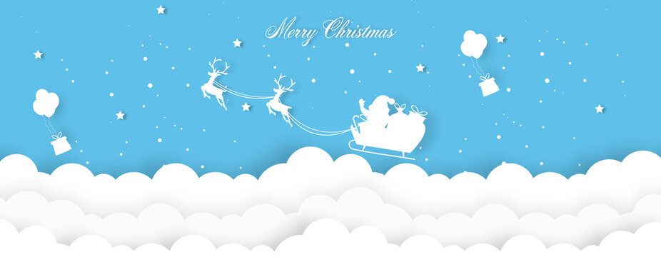 Christmas decoration greeting card template with santa claus riding sled.