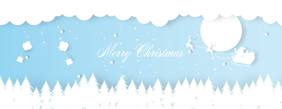 Christmas decoration greeting card template with santa claus riding sledge.