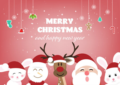 Christmas decoration greeting card template with blank sign.vector illustration.