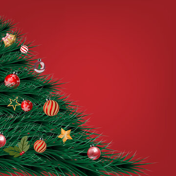 Christmas tree decoration on red background. Vector illustration.