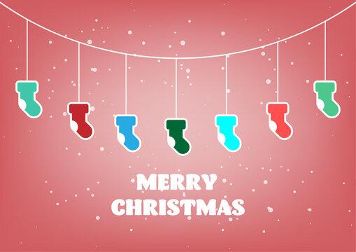 Christmas socks decoration hanging on a rope. vector illustration.