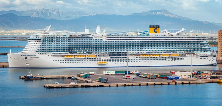 Cagliari, Italy 13/10/2020; Costa Smeralda cruise ship the flagship of the fleet of Costa Crociere, first travel during Covid-19 pandemic disease.  Big Cruise ship moored at the Cagliari harbor.