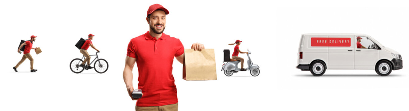 Courier with a paper bag and other workers with delivery van in the back
