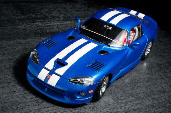 Cagliari, Italy 18/10/2020; 1996  Dodge Viper GTS, metallic blue with white stripes, die cast scale model.