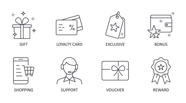 Vector loyalty program icons. Editable stroke symbols. Gift, loyalty card vip exclusive support. Discount shopping stars voucher reward bonus