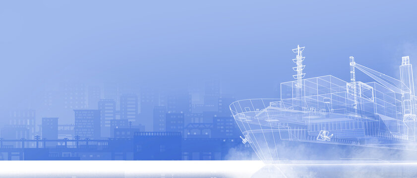 Logistics and transportation of Cargo ship industry and Import export Concept and Blue City Background - illustration