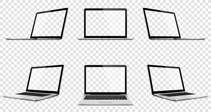Laptop set mock up with transparent screen isolated