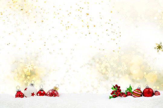 christmas background with christmas ornament on snwo