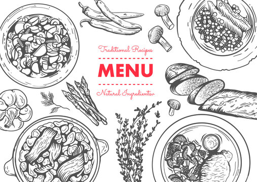 Restaurant lunch menu template. Linear graphic. Vector illustration