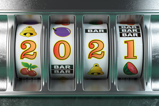 2021 Happy New Year  in casino. Slot machine with jackpot number 2021.