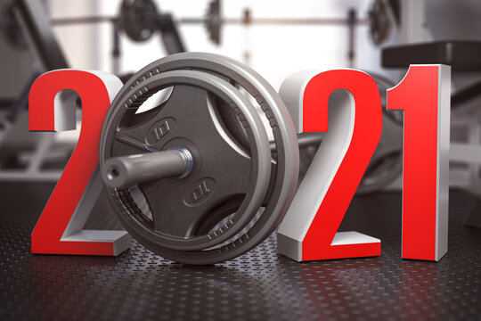 2021 Happy New Year  in fitness bodybuilding workout gym. Number 2021 with barbell and oter spoirt equipment.