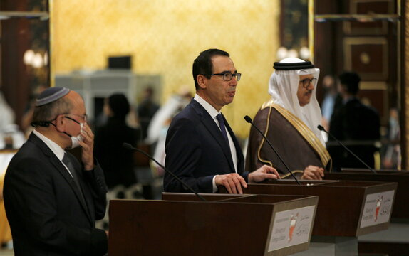 An Israeli delegation led by Israeli National Security Advisor Meir Ben Shabbat, signs an agreement with Bahraini officials in Manama