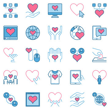 Donation and Charity creative icons collection - vector sponsorship and kindness colored signs or logo elements