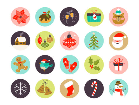 Collection of Christmas highlight cover icons, perfect for adding in social media posts. Eps10 vector illustration.