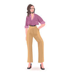 Wall Mural - beautiful girl sexy woman female cartoon character standing pose full length isolated vector illustration