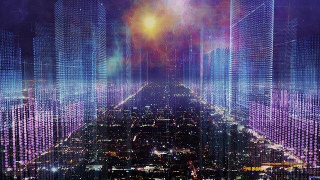Digital city skyline