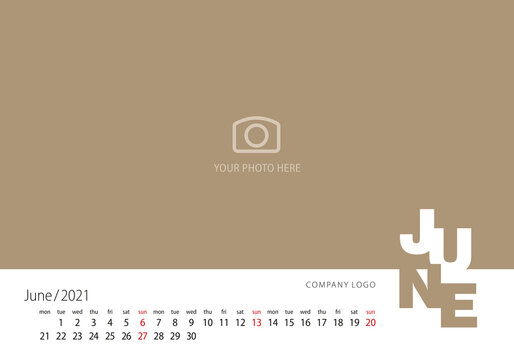 Calendar 2021 New Year 06 month June modern template gold background