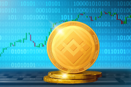 Binance cryptocurrency; Binance BNB golden coin on the background of the chart
