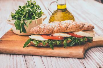 sandwich with mozzarella and tomato