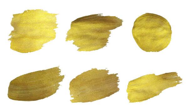 Golden Paint Set Isolated White Background, Vector Illustration