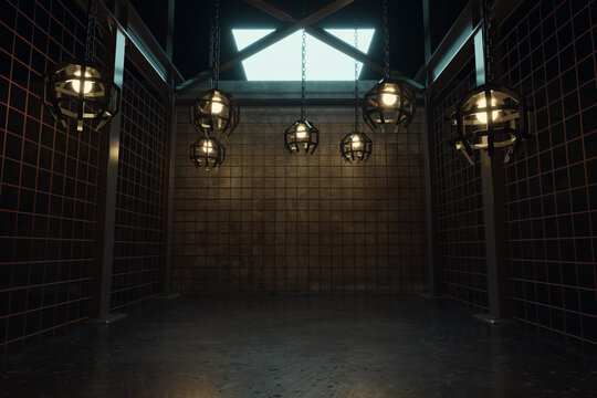 3d rendering of abstract industrial hall with rusty mesh and hanging cage lights