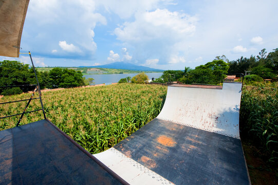 Halfpipe made of metal in a grain field