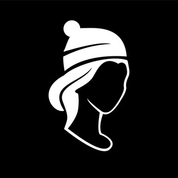simple woman wearing a beanie hat silhouette vector illustration design isolated black background