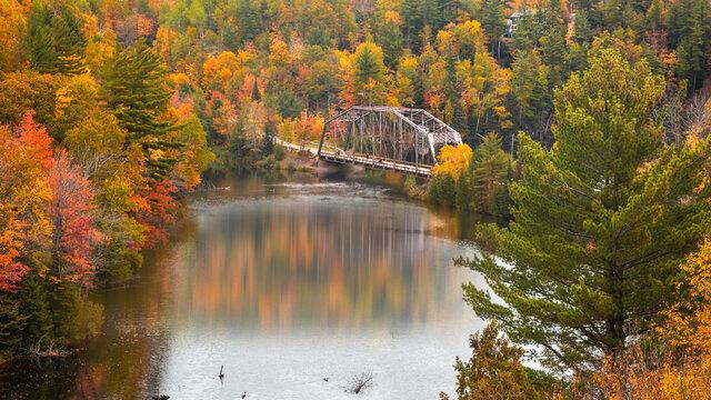 Old high way 510 bridge near Marquette city in Michigan upper peninsula during autumn time.