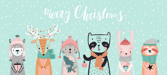 Wall Mural - Christmas card with animals, hand drawn style. Woodland characters, panda, rabbit, sloth, deer, llama and cat.