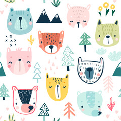 Wall Mural - Seamless pattern with Cute Sloths. Childish Background with sweet characters and other elements.