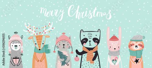Wall mural Christmas card with animals, hand drawn style. Woodland characters, panda, rabbit, sloth, deer, llama and cat.