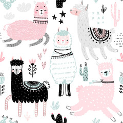 Wall Mural - Seamless pattern with Cute Llamas. Childish Alpaca background characters with cacti and other elements.