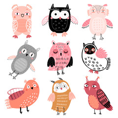 Wall Mural - Cute Woodland owls. Funny childish characters with different mood.
