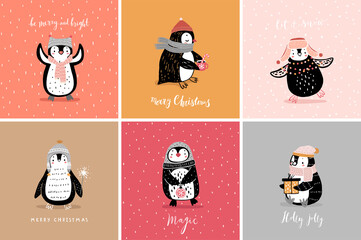 Wall Mural - Cute penguins cards celebrating Christmas eve, having fun, drinking tea. Funny characters.
