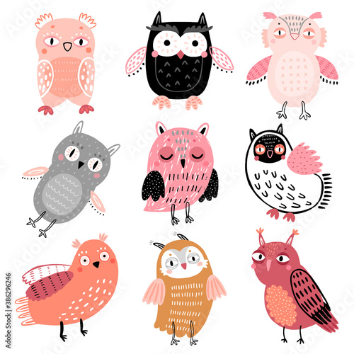 Wall mural Cute Woodland owls. Funny childish characters with different mood.
