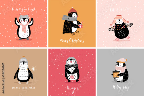 Wall mural Cute penguins cards celebrating Christmas eve, having fun, drinking tea. Funny characters.
