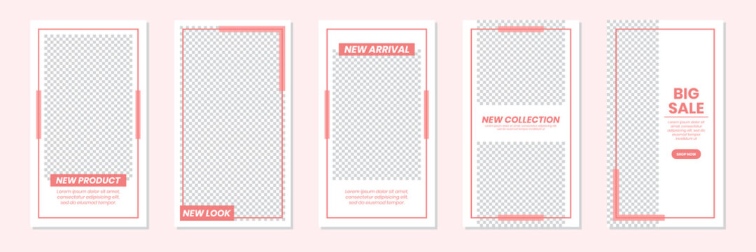 Set of rectangle editable minimal layout social media stories template pastel red color for personal or business. Use this layout for web, banner, poster or etc. For shop, discount, sale, etc.