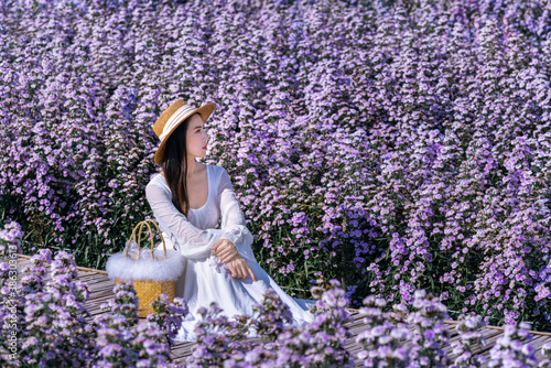 Wall mural Beautiful girl in white dress sitting in Margaret flowers fields.