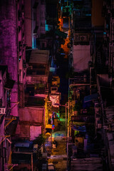 Night at dark back alley, Old town in Hong Kong, cyber color