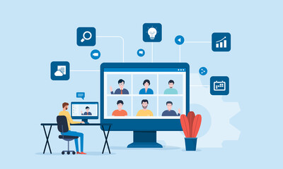 Fototapeta people connecting online with teleconference and video conference for meeting learning remote working and work from home concept. flat vector illustration design obraz