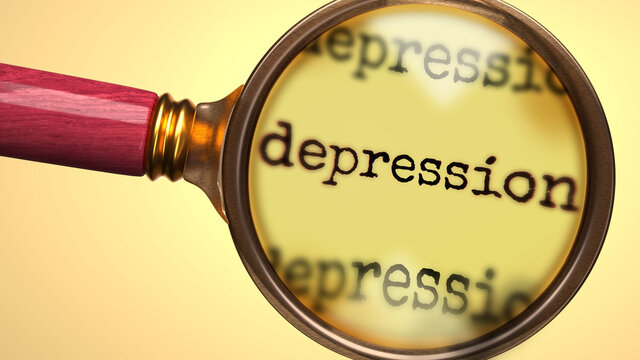 Examine and study depression, showed as a magnify glass and word depression to symbolize process of analyzing, exploring, learning and taking a closer look at depression, 3d illustration